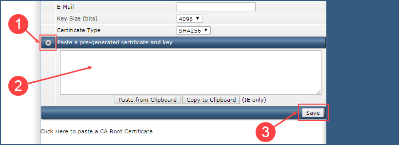 Paste a pre-generated Certificate and Key